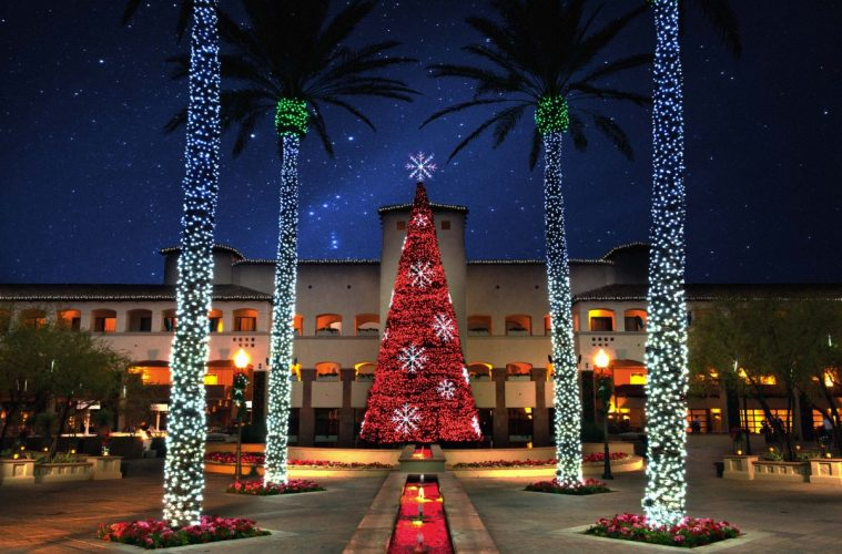 Christmas at The Princess features the tree in Princess Plaza. Photo courtesy Fairmont Scottsdale Princess