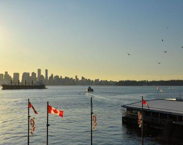 Vancouver skyline at sunset.