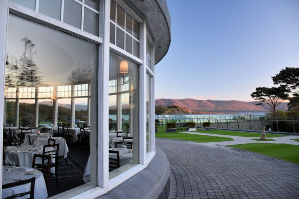 luxury hotels in County Kerry The Pygmalion restaurant at Parknasilla Resort & Spa has a view of Kenmare Bay.