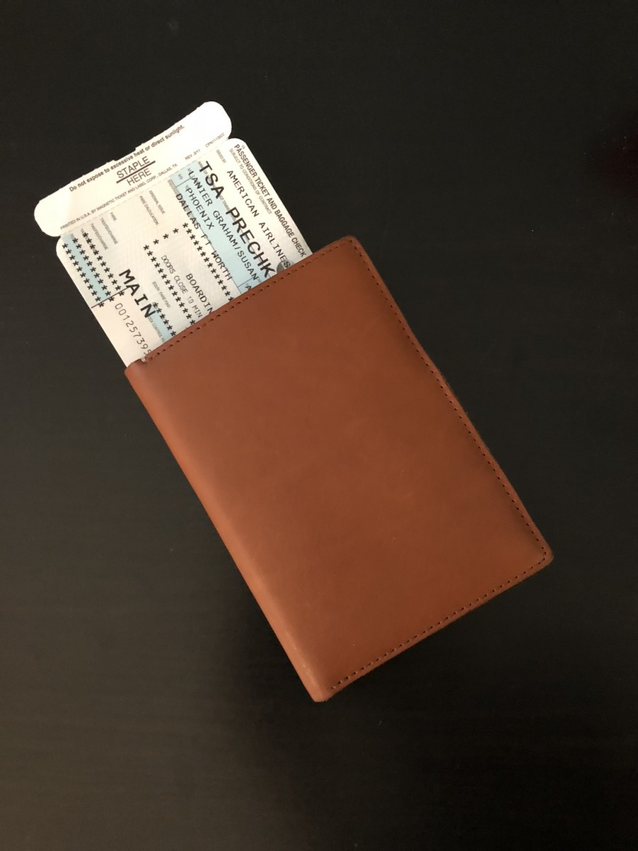 My boarding pass is easy to access with the Anson Calder Passport Wallet. Photo by Susan Lanier-Graham