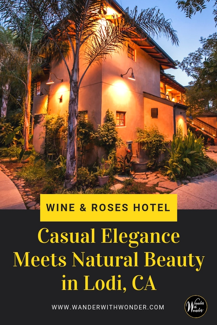 Lush landscaping adds natural beauty to Wine & Roses Hotel in Lodi, CA. Guests enjoy restaurants, spa services and outdoor pool in California wine country. #luxuryresort #luxury #travel #California #Lodi #winetravel