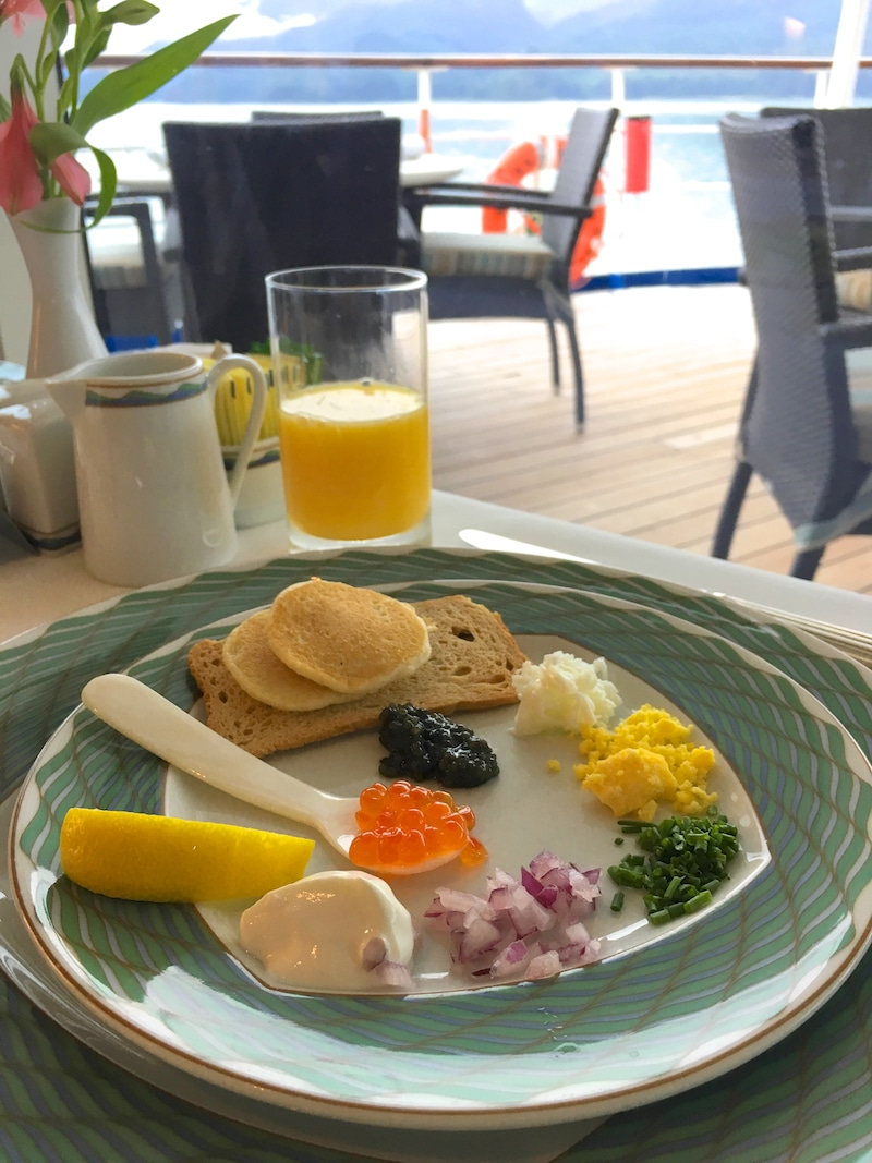 luxury cruise on Regent Seven Seas - A weekend indulgence, the caviar and champagne brunch is a must for your cruise. Photo by Catherine Parker