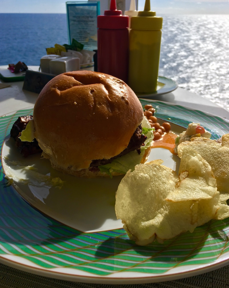 luxury cruise on Regent Seven Seas - Burgers with a view at the Pool Grill, a favorite for lunch. Photo by Catherine Parker