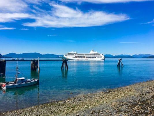 Alaska luxury cruise on Regent Seven Seas - The Regent Seven Seas Mariner off the Alaska coast. Photo by Catherine Parker
