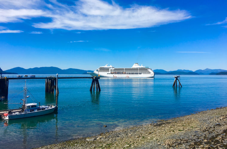 luxury cruise on Regent Seven Seas - The Regent Seven Seas Mariner off the Alaska coast. Photo by Catherine Parker
