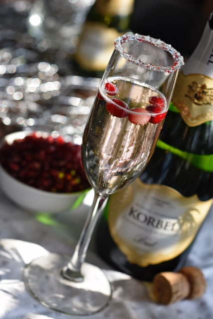 holiday cocktail recipes - Festive Peppermint Fizz made with Korbel sparkling wine. Photo courtesy Korbel