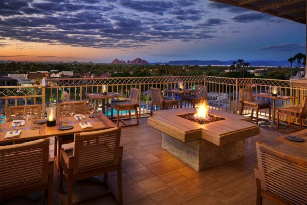 Enjoy sunsets from the J&G Steakhouse patio. Photo courtesy The Phoenician
