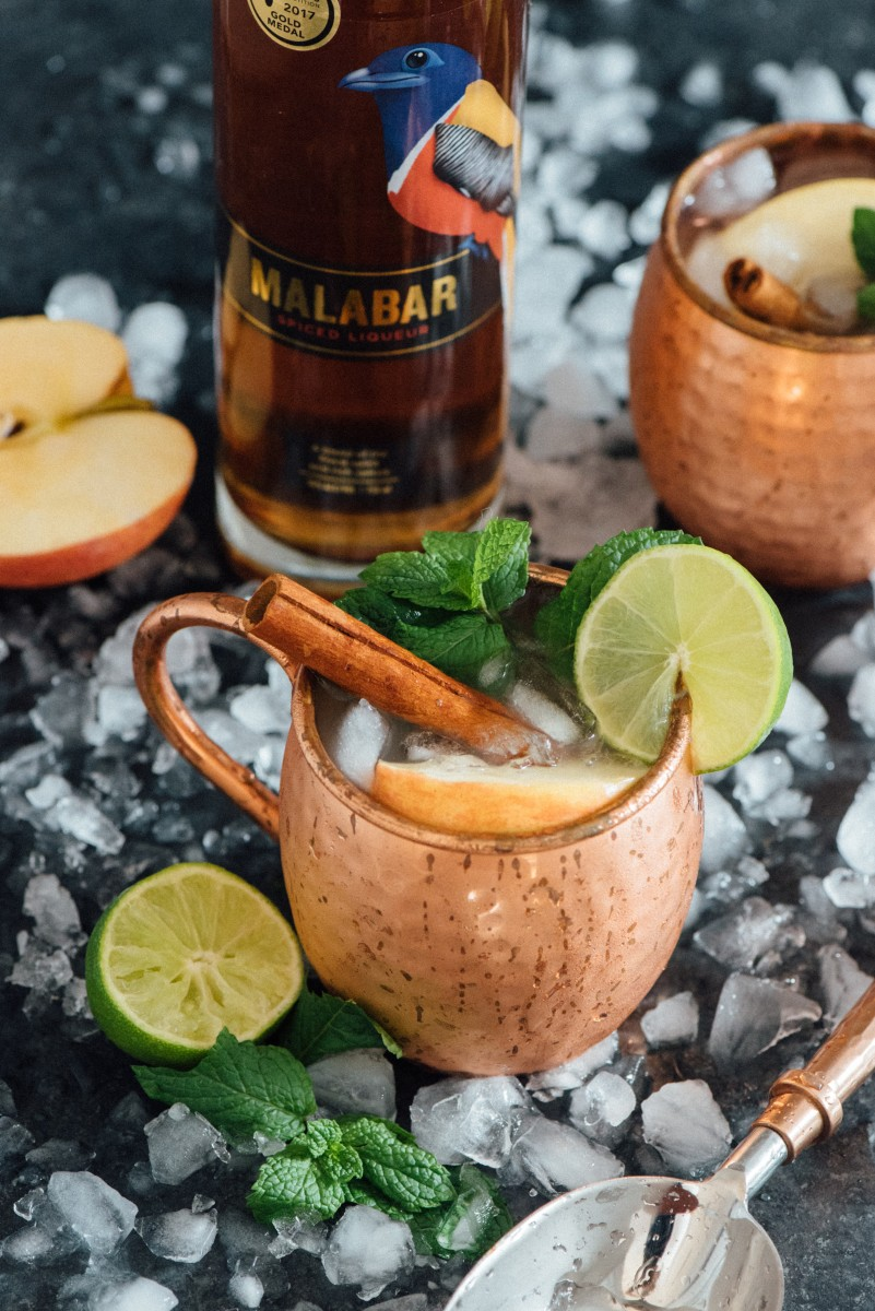 holiday cocktail recipes -Spiced Apple Cider Moscow Mule with Malabar Spiced Liqueur. Photo courtesy Malabar Spiced Liqueur
