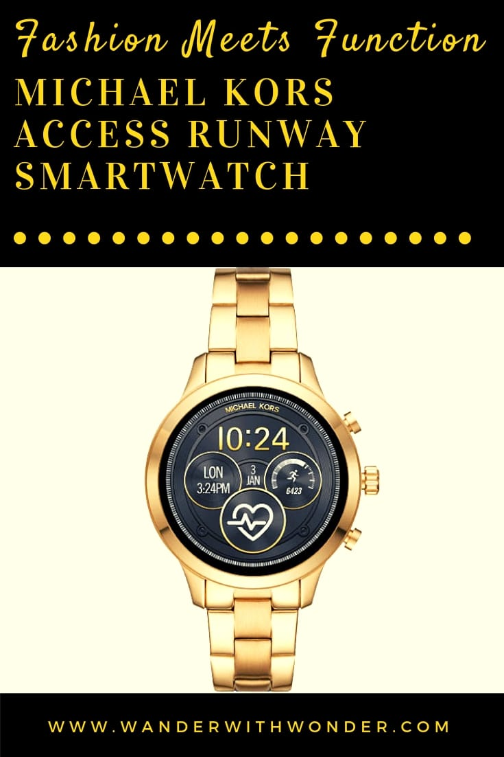 For those who really want fingertip access to their texts, emails, and appointments, the Michael Kors Access Runway Smartwatch is a fashion-forward solution. Best Buy offers the gold or rose gold with stainless band for $350. #BestBuy #MichaelKors #AccessItAll #ad #watch #smartwatch