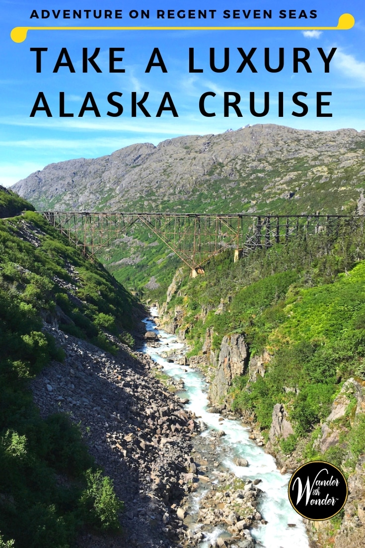 Explore Alaska's last frontier to see where evergreen forest meets sapphire waters on the Inside Passage. Regent Seven Seas is the ideal choice for a luxury Alaska cruise. It's great for first-time cruisers, multi-generational travel, and seasoned cruisers. #Alaska #Alaskacruise #InsidePassage #RegentSevenSeas #RegentMariner #cruise #luxurytravel