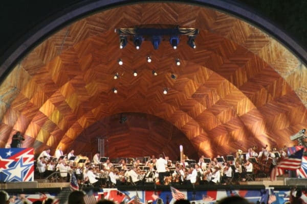 The Boston Pops Esplanade Orchestra performing at the Hatch Shell in Boston. Photo by Garrett A. Wollman via Creative Commons