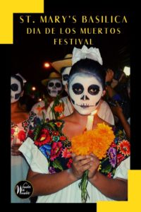 The St. Mary's Basilica Dia de Los Muertos festival will take place all day on Sunday, November 3, 2019, starting at 11 a.m. with a special Mass and procession at the St. Mary's Basilica Outdoor Plaza at 231 N. 3rd Street, Phoenix, Arizona. #dayofthedead #diadelosmuertos #phoenix #arizona #festivals