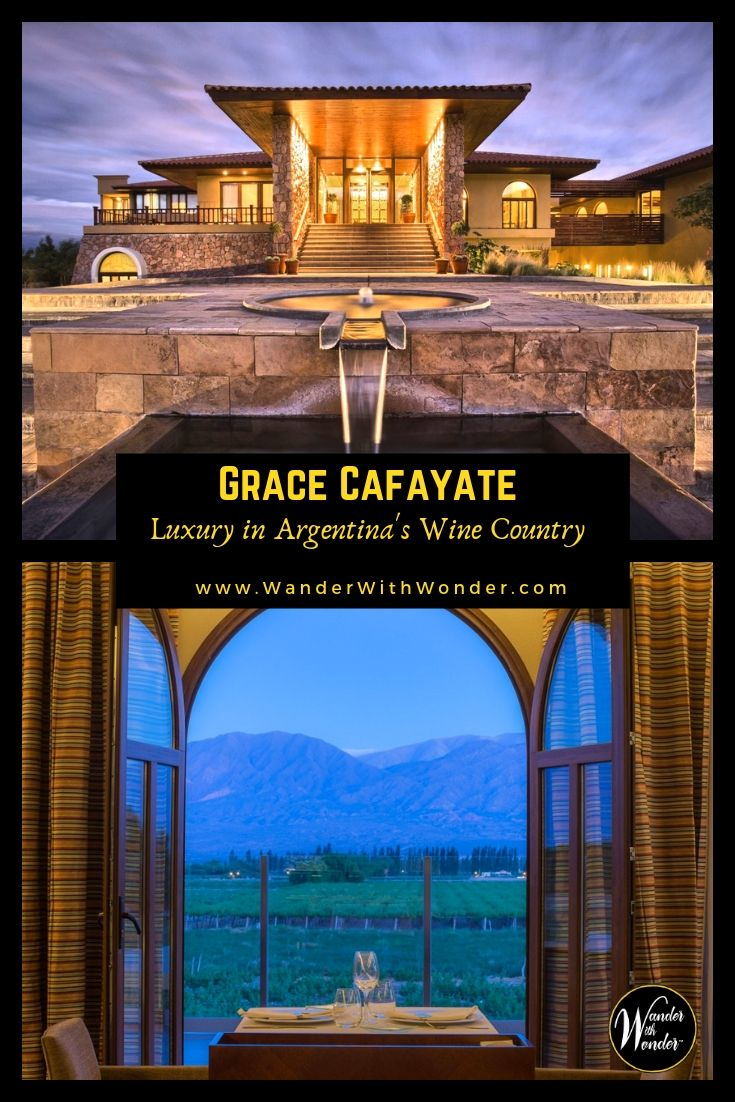 Grace Cafayate, in northern Argentina, has all the amenities you'd expect at a luxury, boutique hotel in wine country. At 5,500 to nearly 10,000 feet above sea level, Cafayate is the highest altitude wine region in the world. The drive from the airport in Salta takes you through the scenic red rock formations of Quebrada de las Conchas. #luxury #Argentina #winecountry #wine #hotels #boutiqueinns