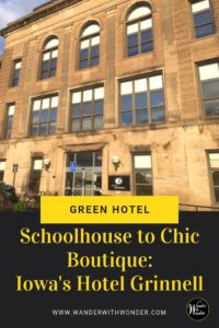 Hotel Grinnell offers a welcoming green hotel stay in the heart of the Midwest. Hotel Grinnell's eco-friendliness begins with the building. It's a former 1921 limestone junior high school with new windows. The #ecofriendly #green #hotel is near Grinnell College in #Iowa #hotels #historichotel