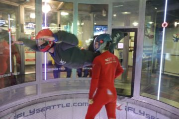 The author tries indoor skydiving.
