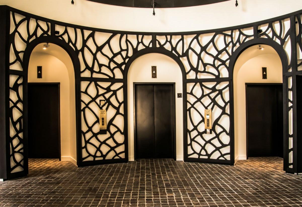 Latice around the elevators at Hotel Valencia Santana Row.