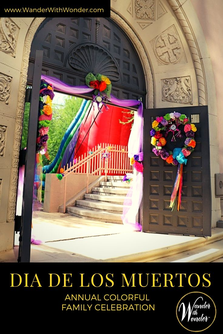 Put aside your fear of death, skeletons, and skulls, because Dia de Los Muertos (Day of the Dead in English) at historic St. Mary's Basilica in central Phoenix each November is full of joy, colorful art, and family tradition. #DiaDeLosMuertos #DayoftheDead #Phoenix #Art #Culture #Hispanic