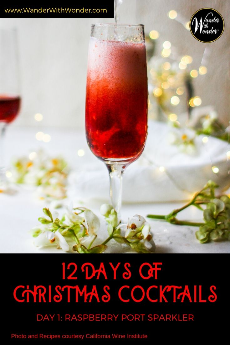 What better way to celebrate Christmas than with 12 Christmas cocktails? For the next 12 days, I will share my celebratory cocktails for the holiday season. On the first day of Christmas, I sipped a Raspberry Port Sparkler. The California Wine Institute and California Wines share this beautiful and delicious cocktail recipe. #cocktails #Christmas #holidays #recipes #california #Wine #CaliforniaWines