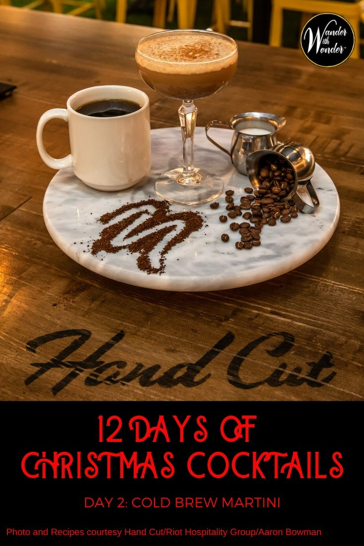 What better way to celebrate Christmas than with 12 Christmas cocktails? Here are my picks of cocktails for the holiday season. On the second day of Christmas, I sip a Cold Brew Martini. #Christmas #cocktails #holidays #recipe #coffee #Martini