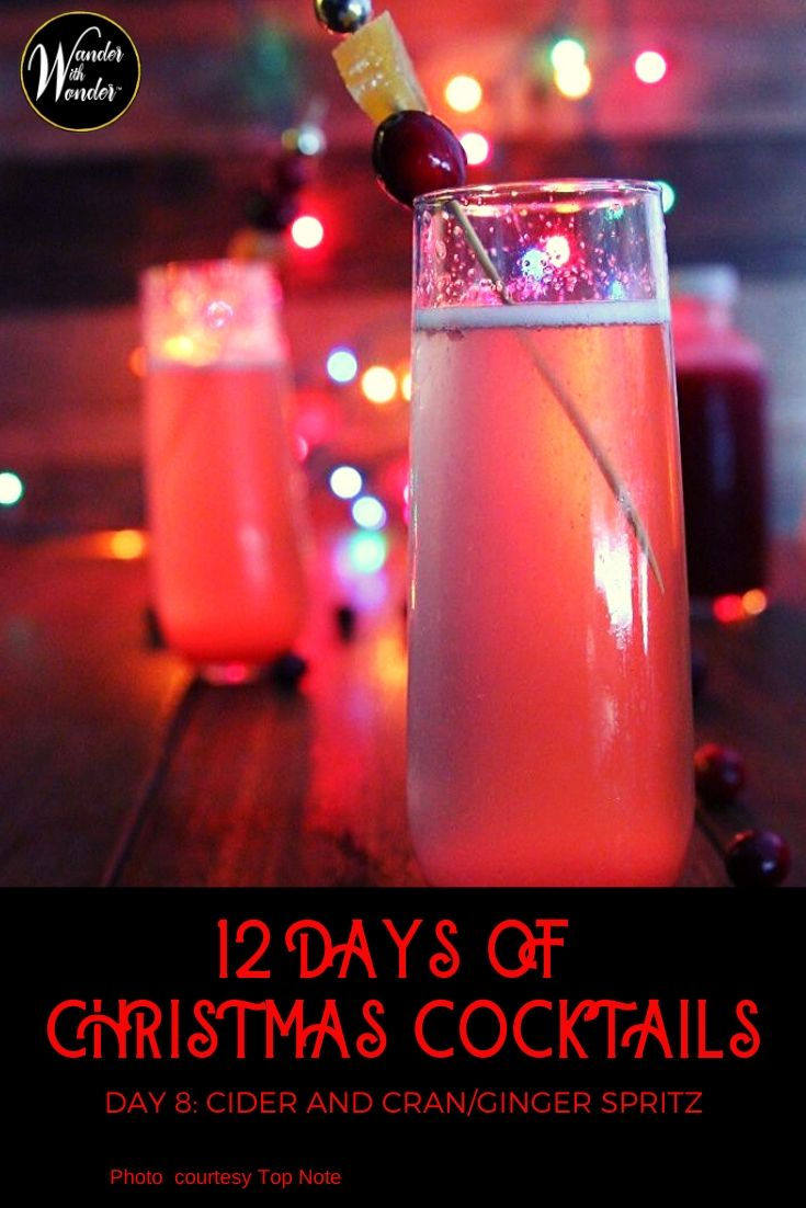 On the 8th day of Christmas, I sipped a non-alcoholic Cider and Cran Ginger Spritz with Top Note Ginger Beer and apple cider. The simple #recipe is an ideal #mocktail for those family Christmas celebrations. An #alcoholic version features #Cranberry liqueur. #cocktails #holidays #Christmas #Ginger #sparkling