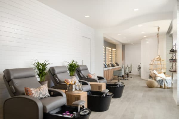 Pedicure and hairstyling stations at AWAY Spa. Photo courtesy of W Scottsdale