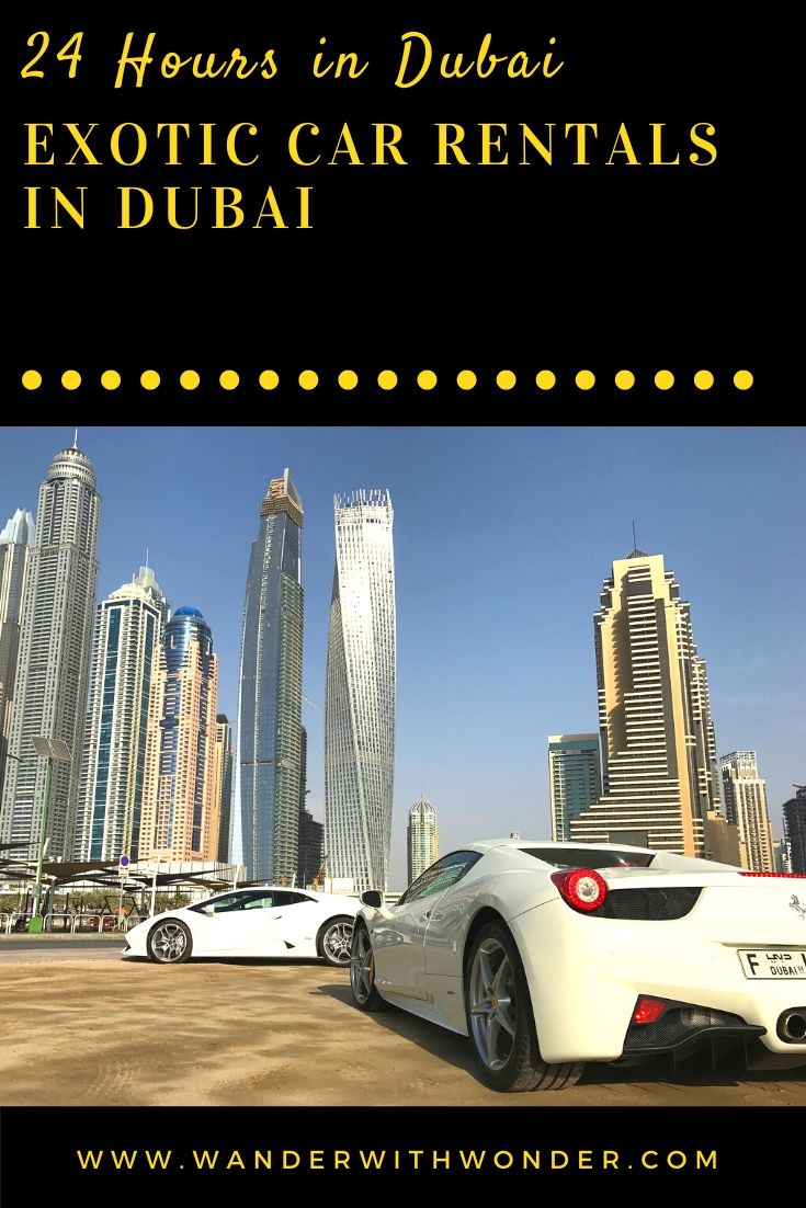 Dubai is one of the world's beautiful places to visit. Many people visiting Dubai—often for a layover or to conduct business—find that the best way to maximize their time is with an exotic car rental. Here are our suggestions for how to maximize your 24 hours in Dubai with an exotic car rental. #sponsored #luxury #Dubai #car #exoticcar