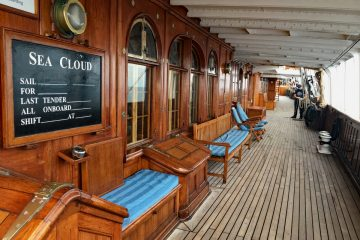 Sea Cloud's teak decks and dark wood paneling evoke the richness of a luxury vessel from the 1930s. Photo by Katherine Rodeghier