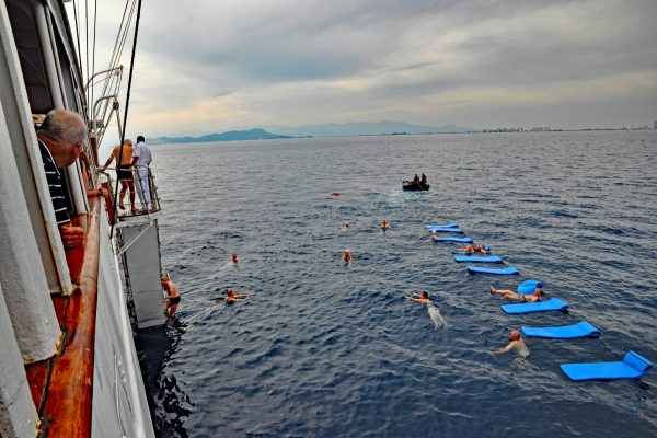 Sea Cloud passengers had a chance to swim in the Mediterranean on a cruise off the coast of Spain. Photo by Katherine Rodeghier