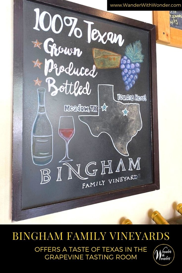 Bingham Family Vineyards has been growing wine grapes on their family farm in the Texas Panhandle since 2003. Check out this 100% Texas wine during a visit to the Grapevine winery or arrange a visit to the family farm in the Texas Panhandle.