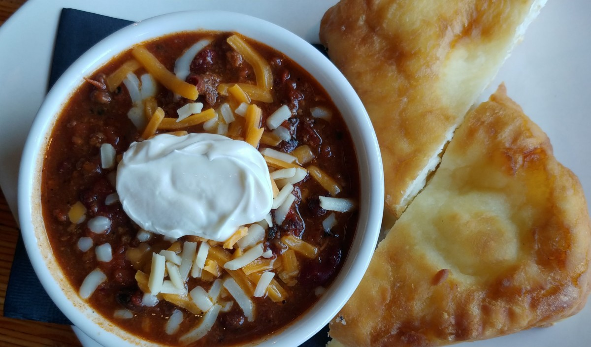 Whistler in the Off Season - Homemade venison chili at the Thunderbird Cafe in Whister.