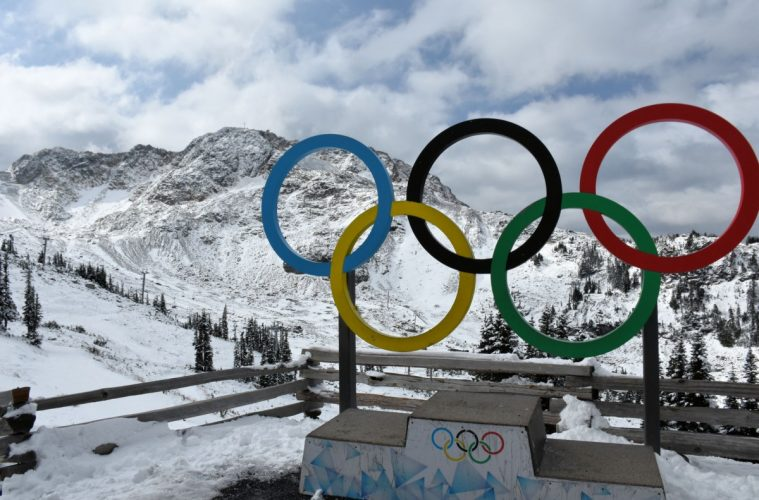 The Olympic Rings at the top of the mountain in Whistler, British Columbia.