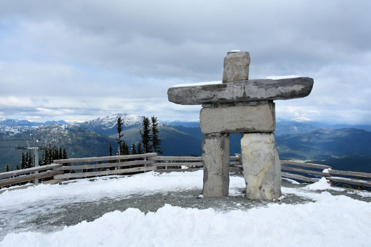 Whistler in the Off Season - The inukshuk at the top of Whistler.